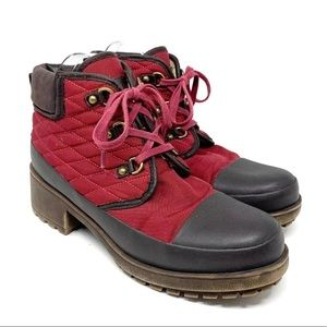 New Lucky Brand AKONN red Quilted Boots 8 / 38